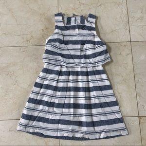 Loft Like New Chambray Linen Striped Dress Sz 0